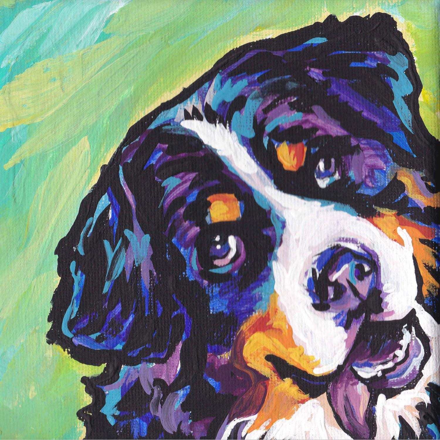 Bernese Mountain Dog Art Print Modern Pop Bright Colors