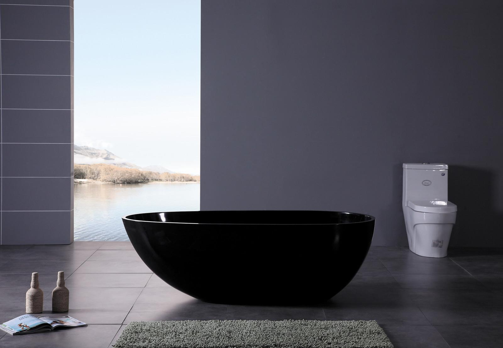 Best Design Black Modern Bathtub Minimalist Bathroom