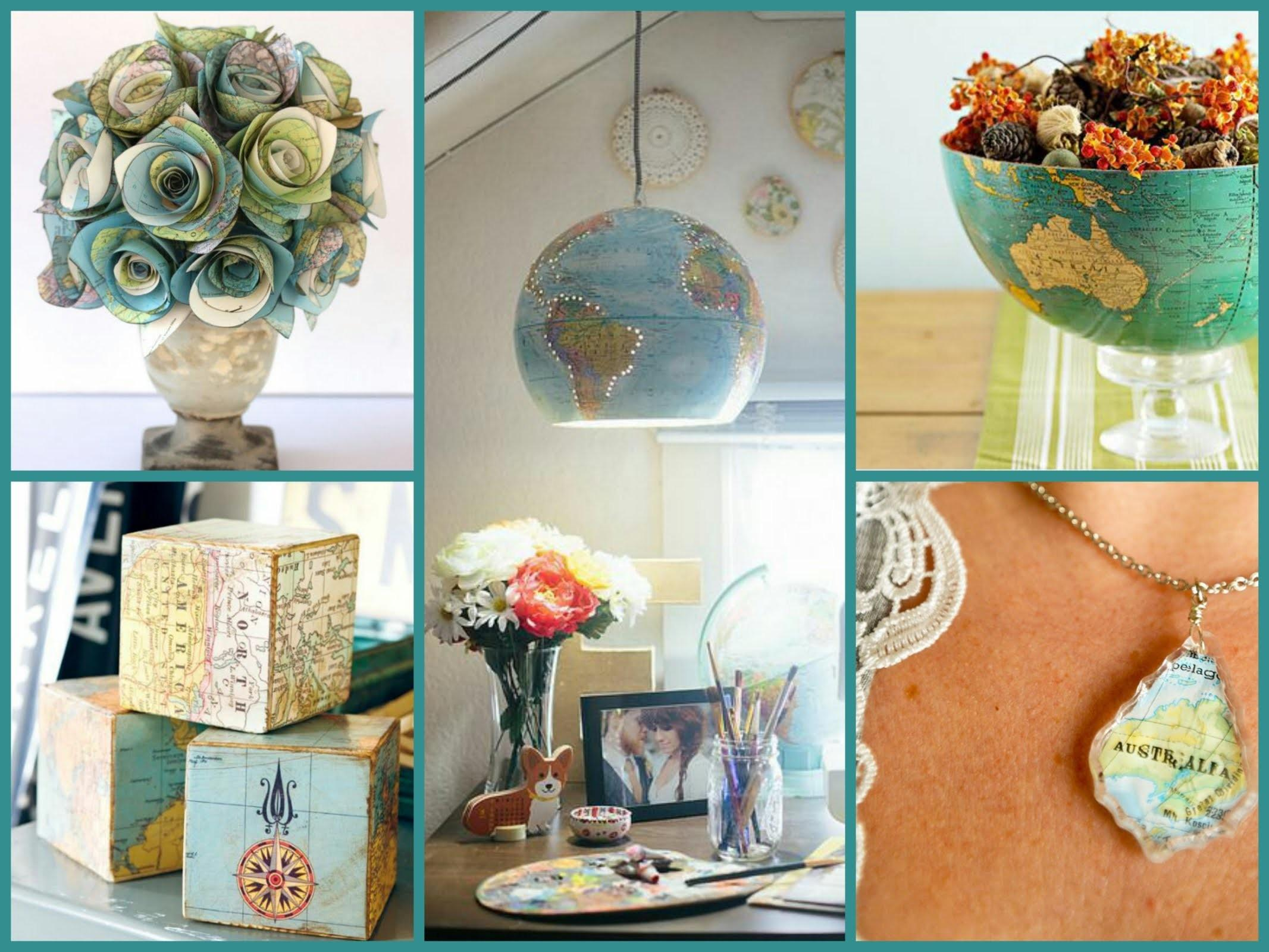 Best Diy Recycled Map Crafts Globe Decor Ideas