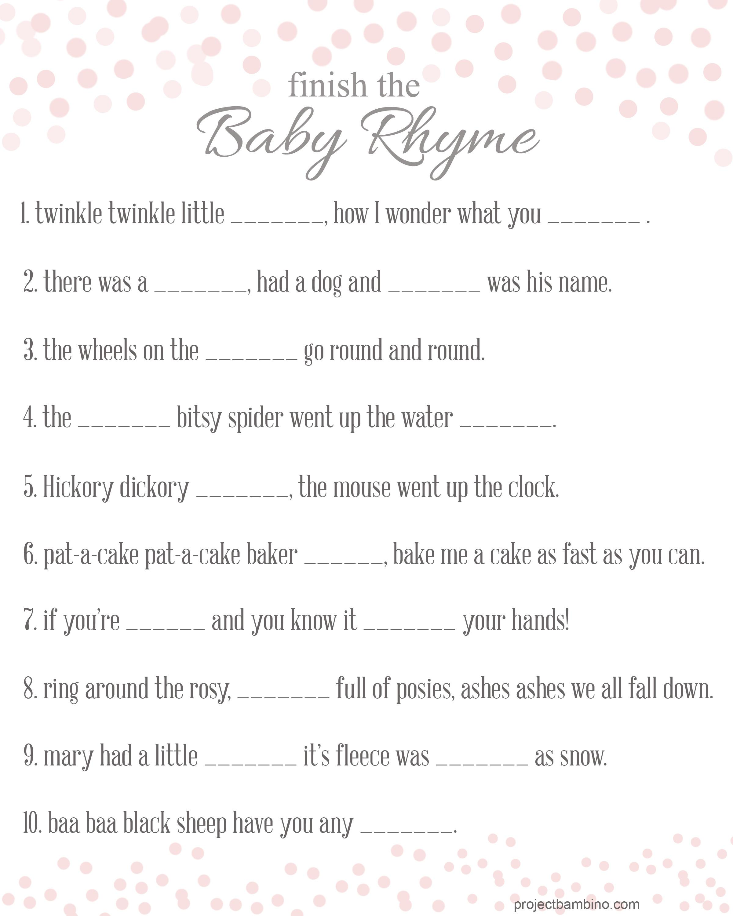 Best Easy Baby Shower Games Printable