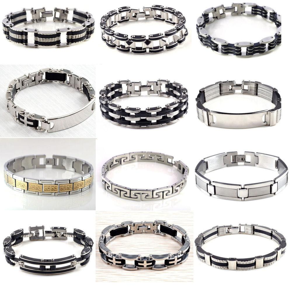 Best Men Silver Stainless Steel Black Rubber Cool Bangle