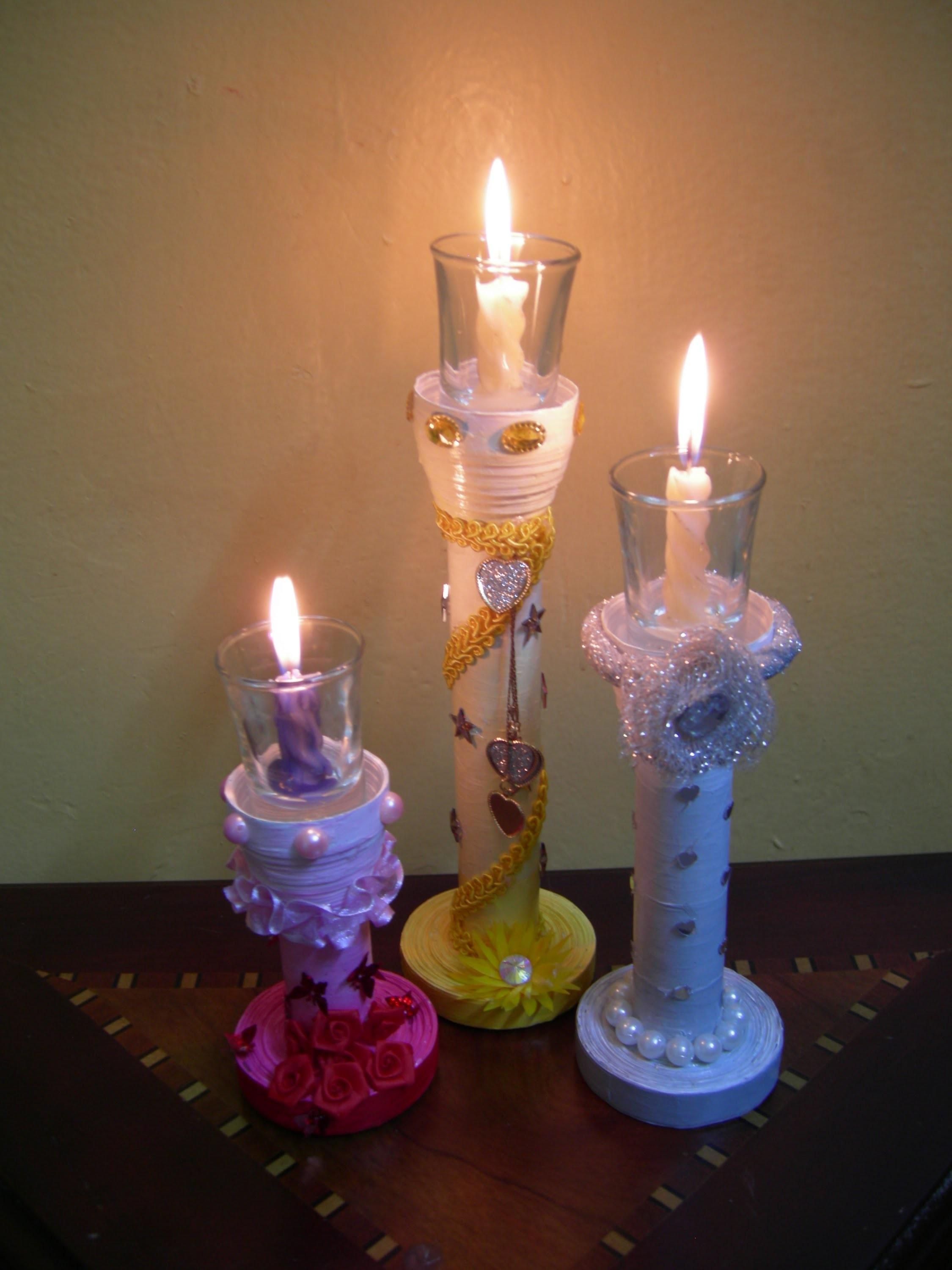 Best Out Waste Paper Colourful Candle Stands Set
