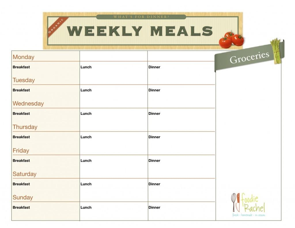 Best Printable Blank Meal Plan Chart