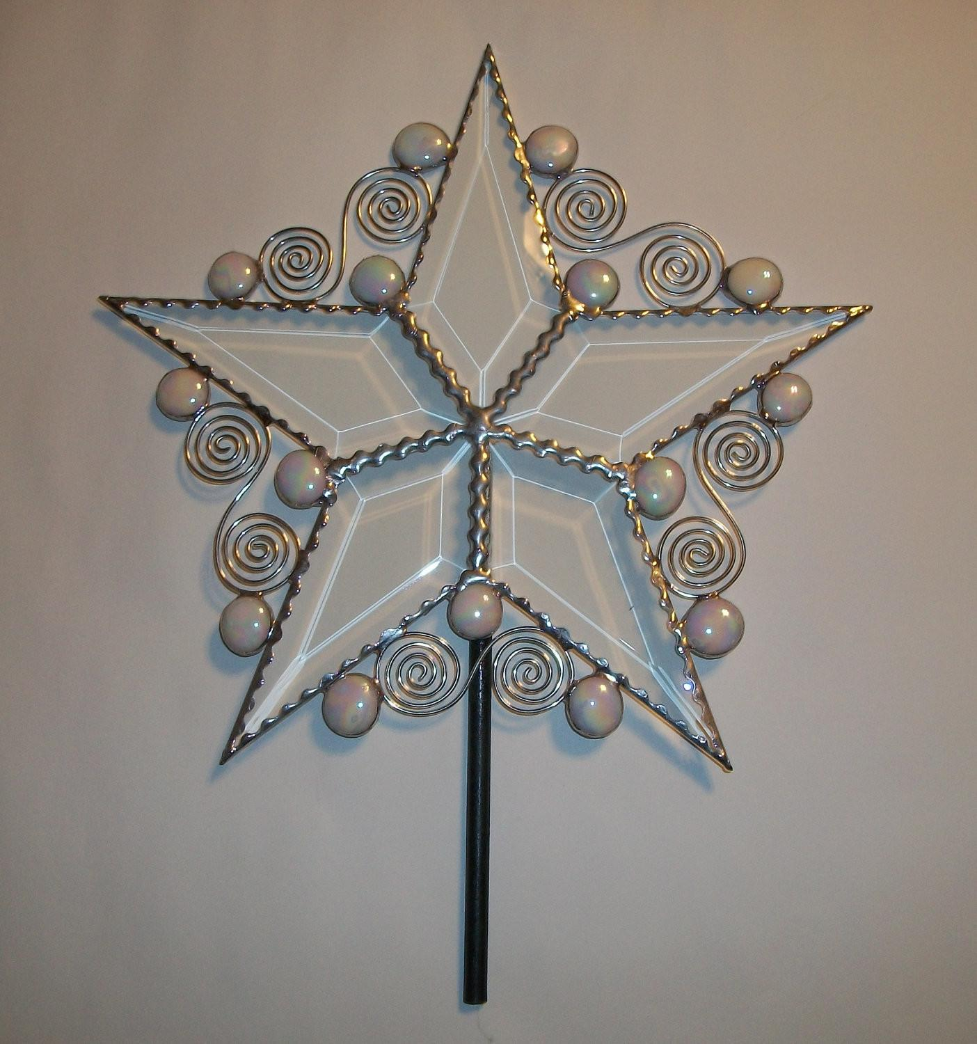 Beveled Glass Christmas Tree Topper Whimsical