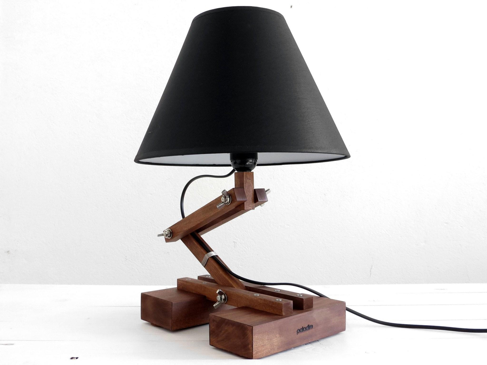 Big Plat Wooden Table Lamp Paladim Handmade