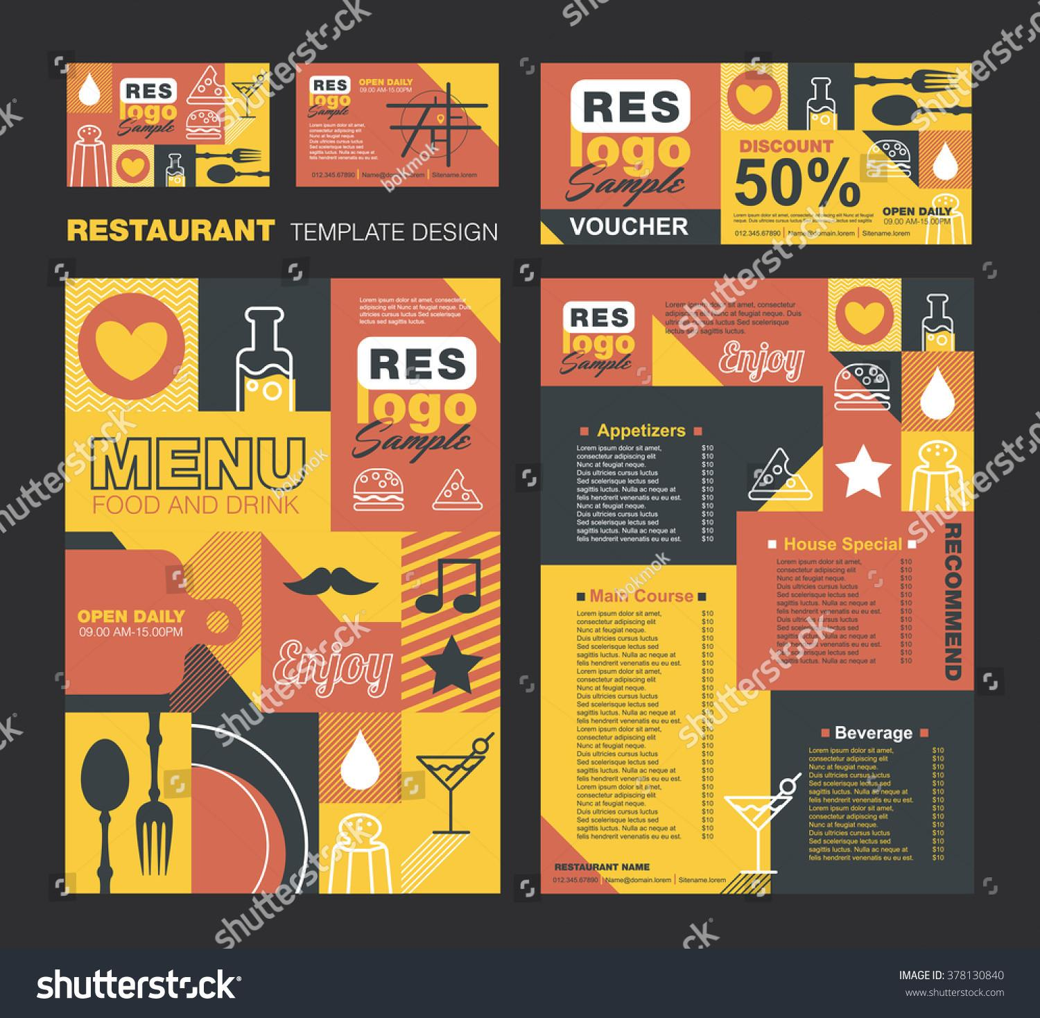 Big Set Restaurant Cafe Menu Designvoucherbusiness Stock