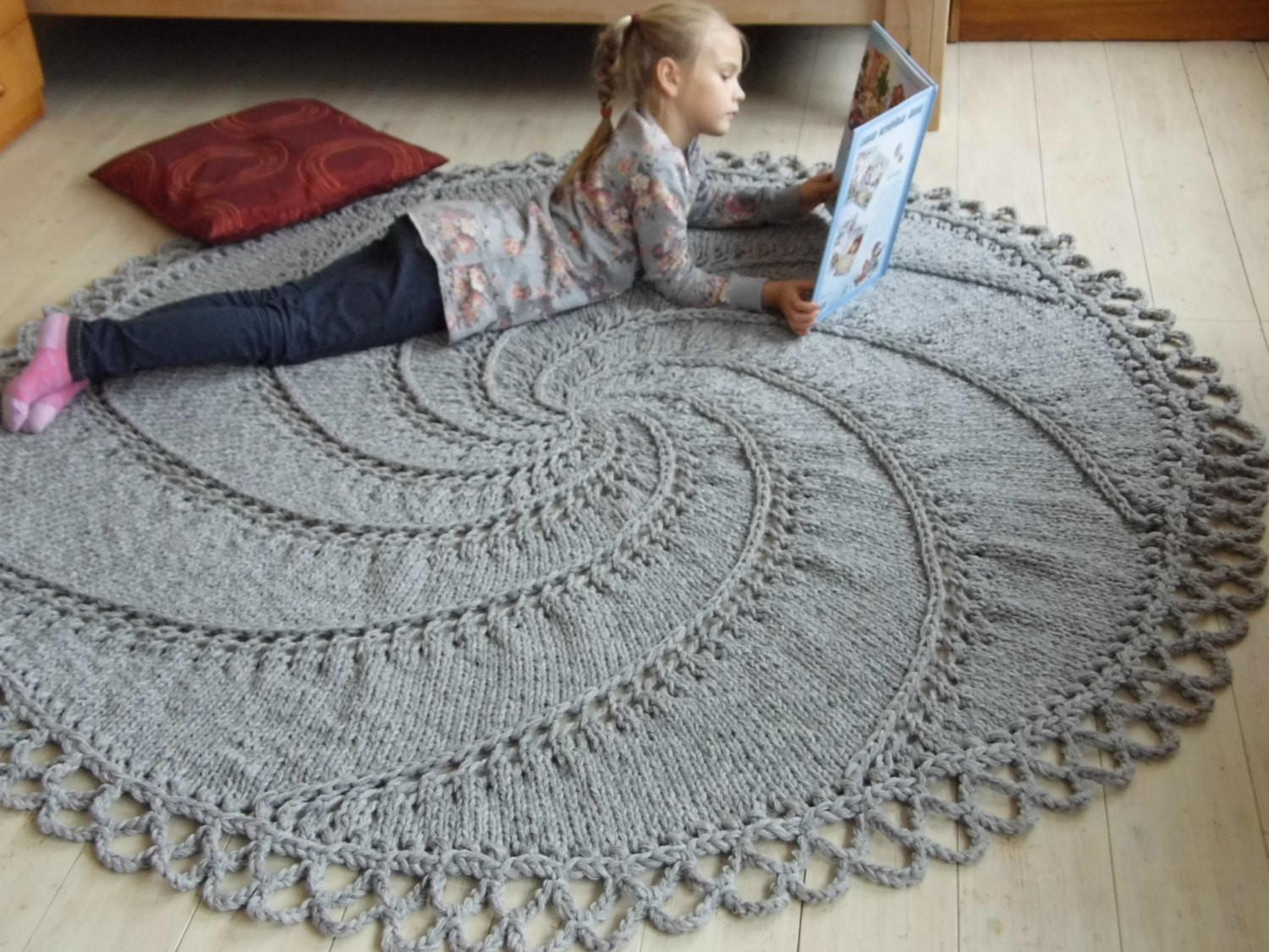 Big Stitch Hand Knit Wool Rug Natural Gray