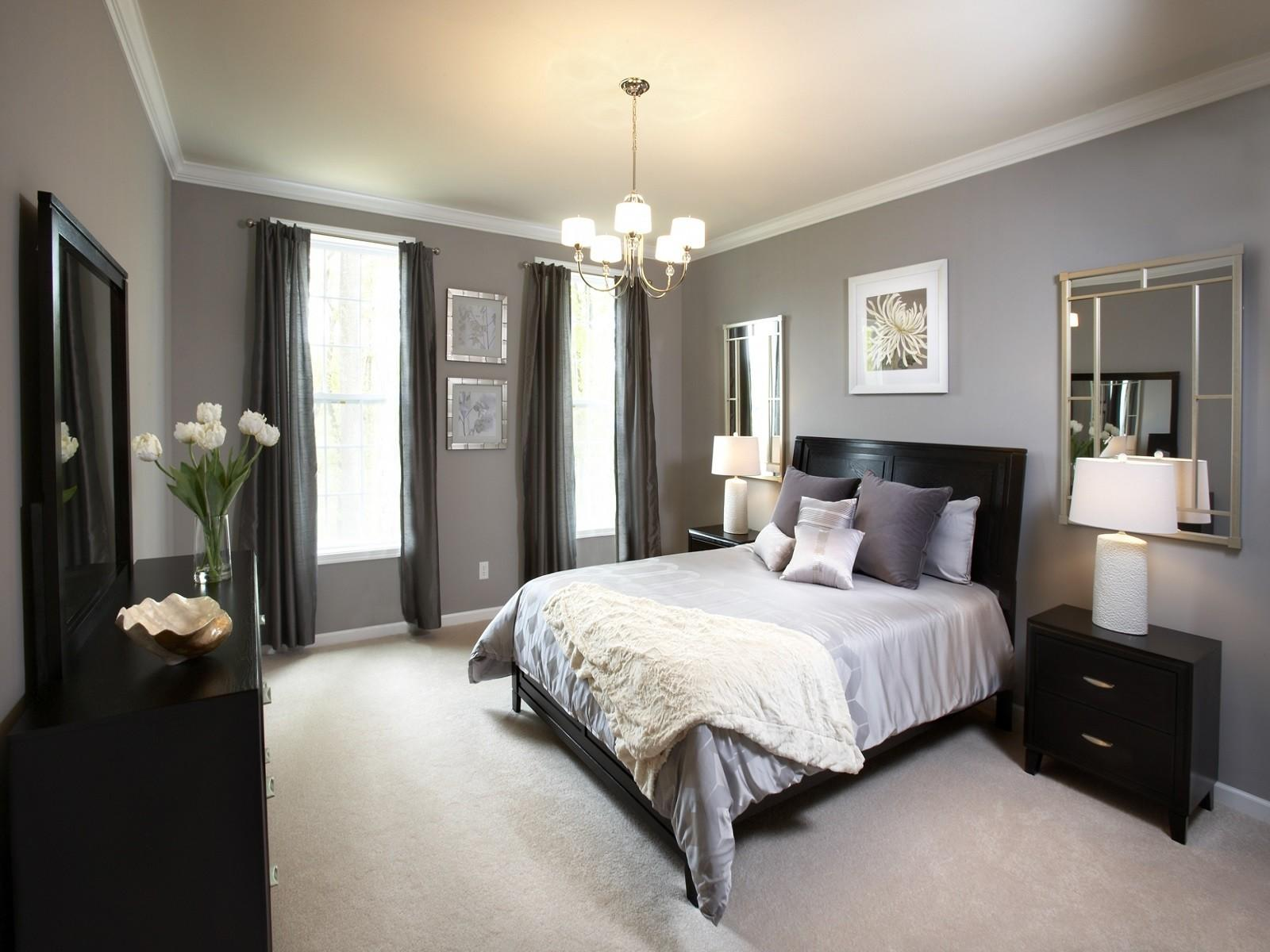 Bight Bedroom Interior Low Budget Feat Black Wood Bed