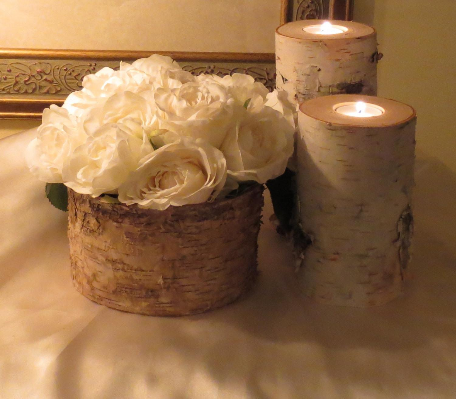 Birch Bark Vase Candle Holders Rustic