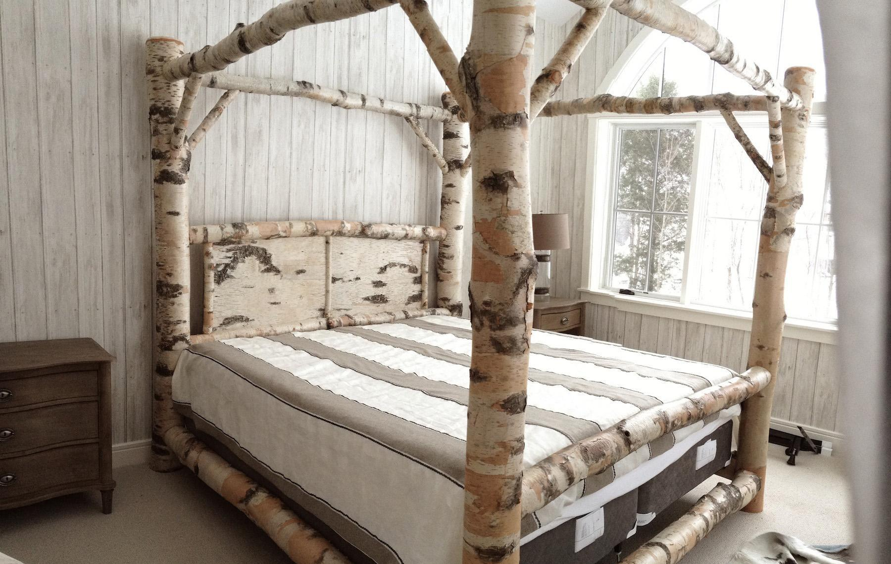 Birch Log Canopy Bed Stauffer Woodworking