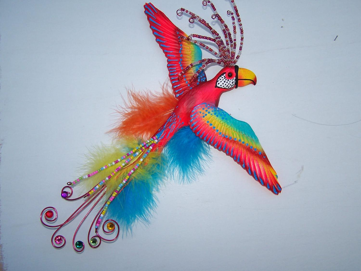 Bird Art Colorful Whimsical Parrot Wall Sculpture