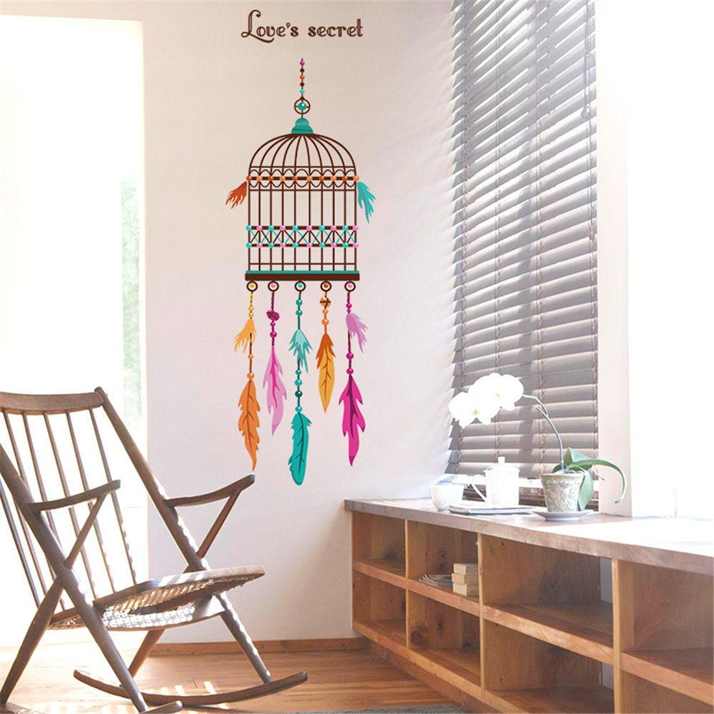 Bird Cage Feathers Room Home Decor Removable Wall Stickers
