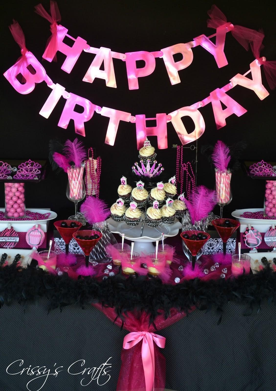 Birthday Party Decorations Pink Black