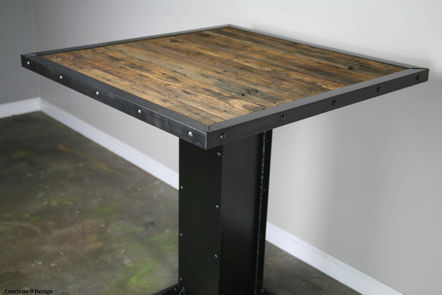 Bistro Dining Table Modern Industrial Design Reclaimed Wood