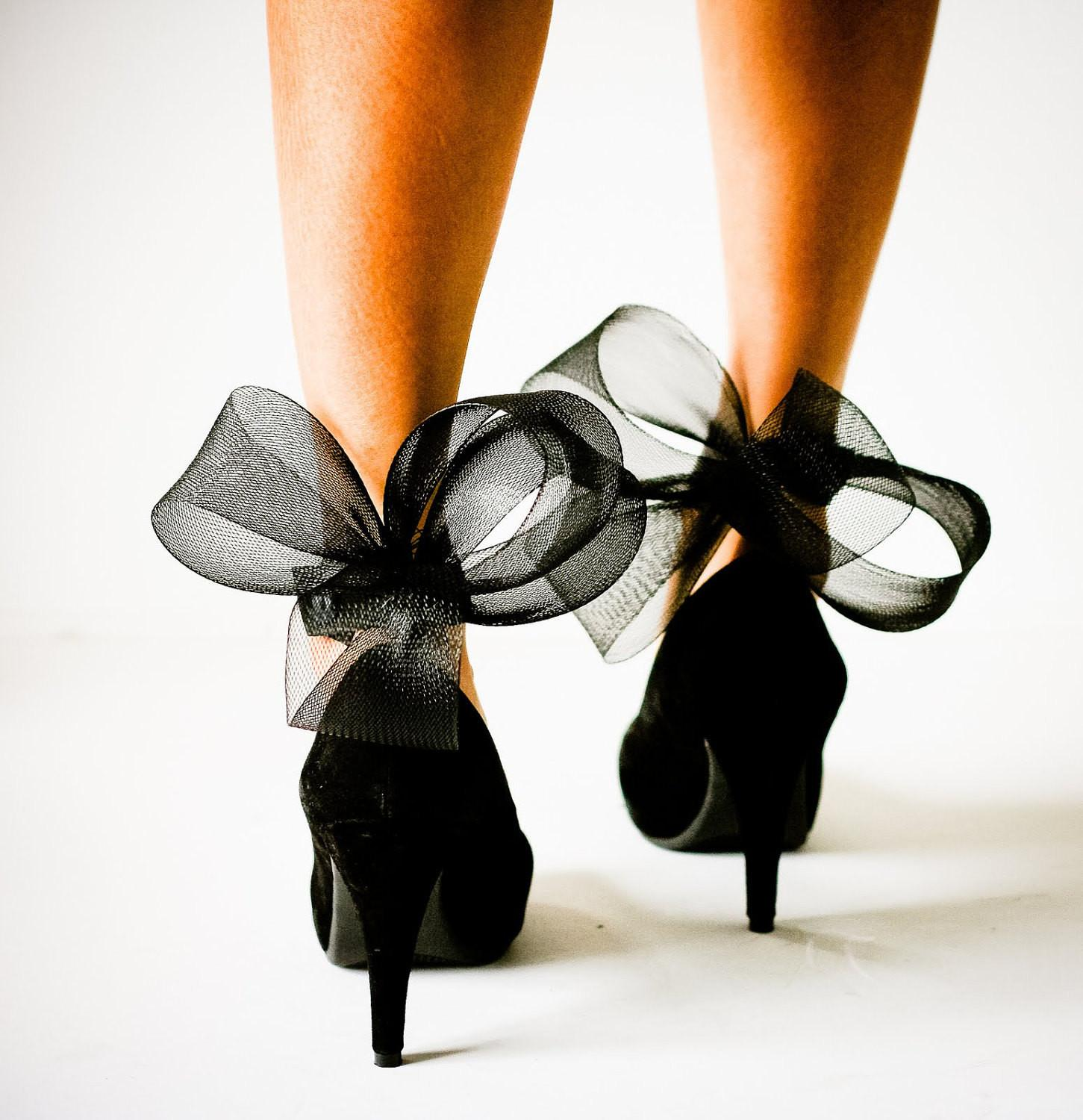 Black Abstract Bow Ankle Cuffs High Heels
