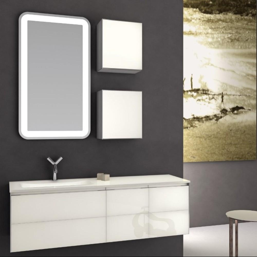 Black Accent Wall Glossy White Finished Vanity