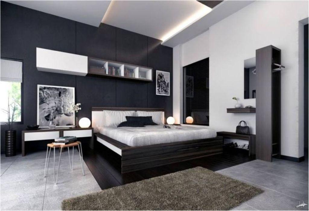 Black Accent Wall Textured Marble Floor Modern