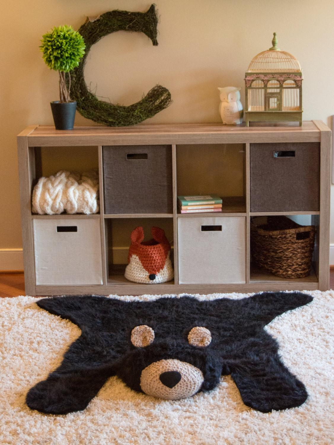 Black Bear Rug Faux Woodland Nursery Baby Room