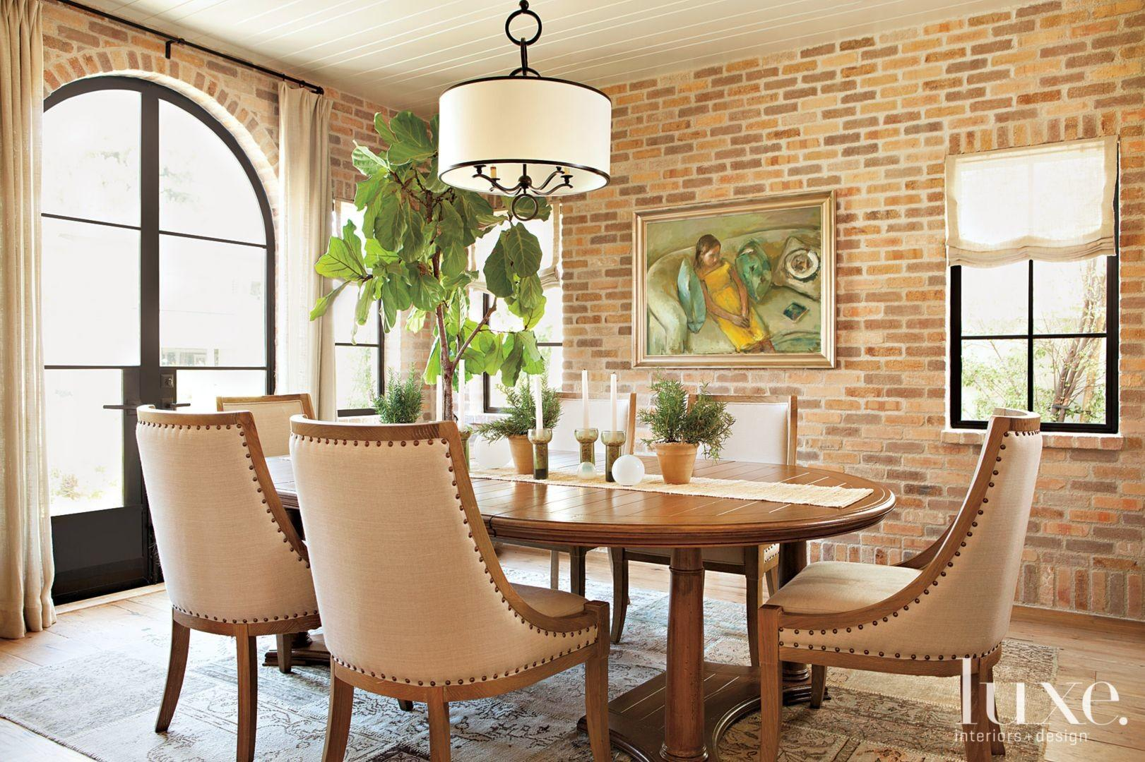 Black Brick Wall Contemporary Dining Room Clearly