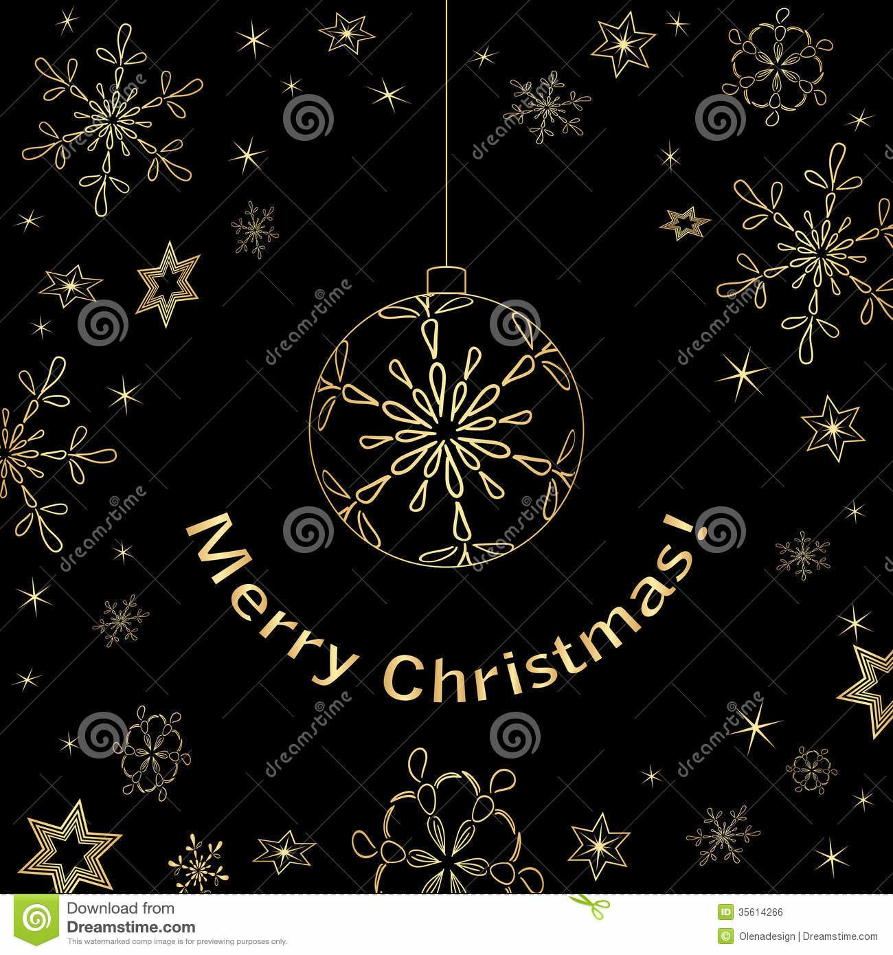 Black Christmas Vector Card Gold Decorations Stock