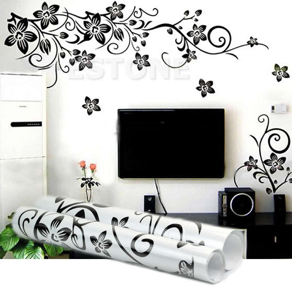 Black Flowers Removable Wall Stickers Decals Diy