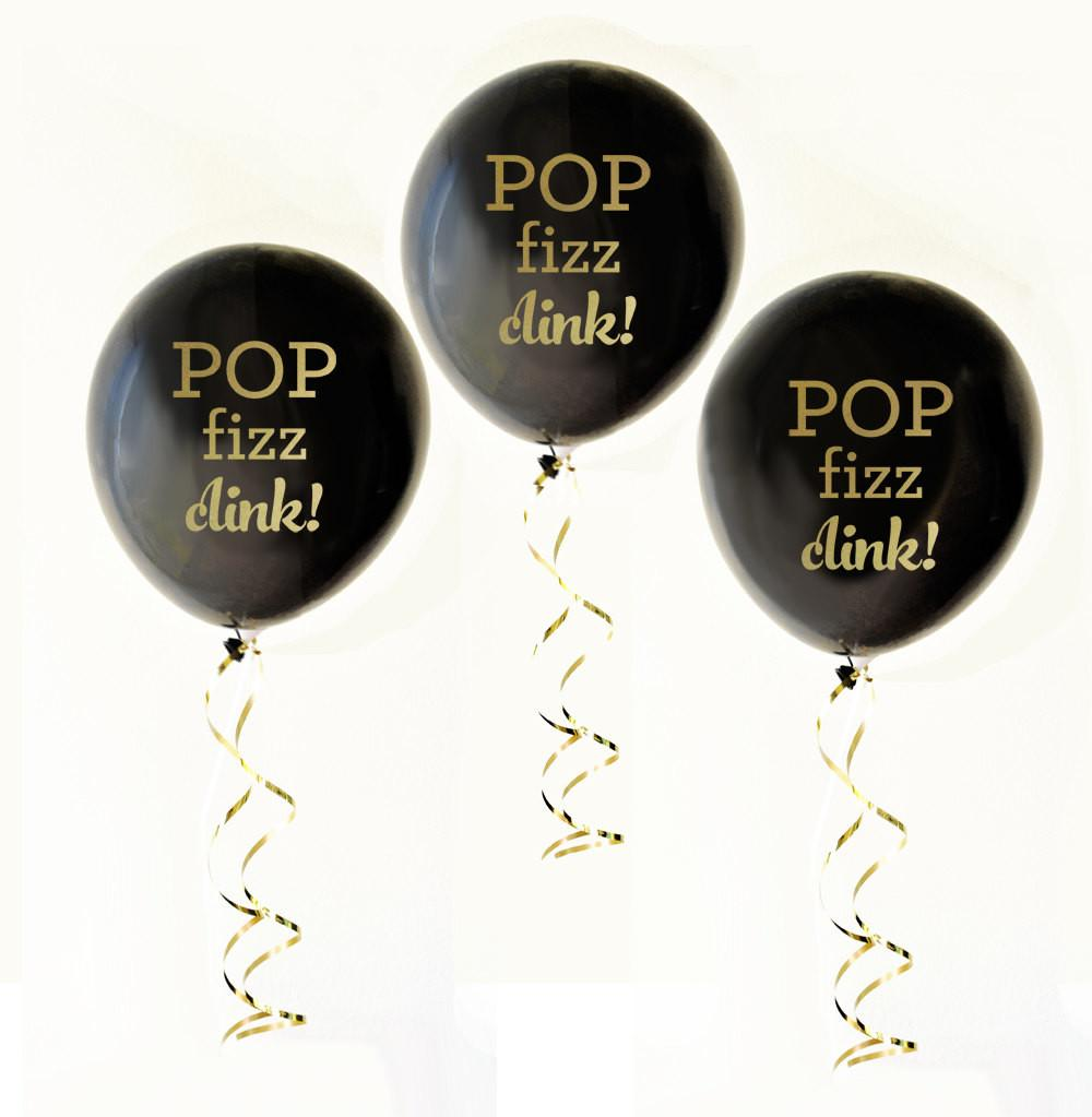Black Gold Balloons 6ct Pop Fizz Clink Party