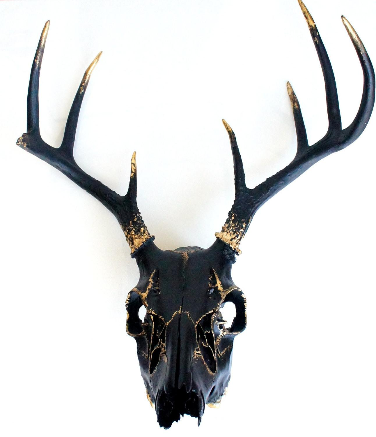 Black Gold Leaf Deer Skull Wall Decor Art Ooak