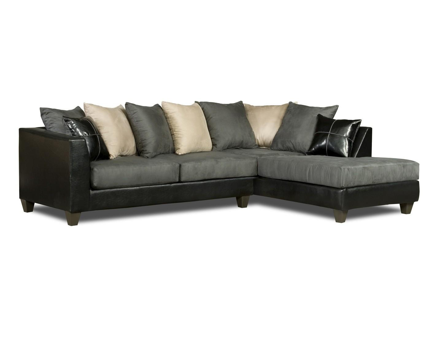 Black Gray White Sectional Sofa Loose Pillow Back 4184