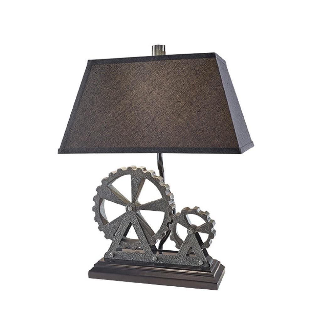 Black Grey Industrial Themed Table Lamp