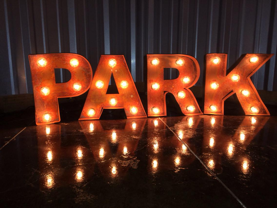 Black Iron Vintage Rustic Marquee Channel Lighted Letters