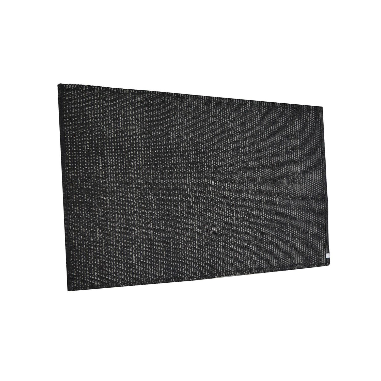 Black Knit Rug Wool Cotton Tp1039s