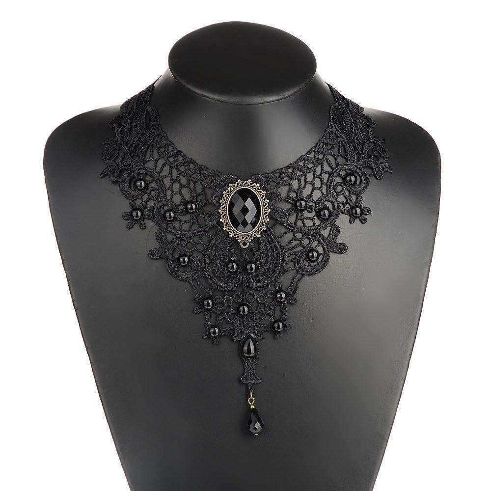 Black Lace Beads Gothic Necklace