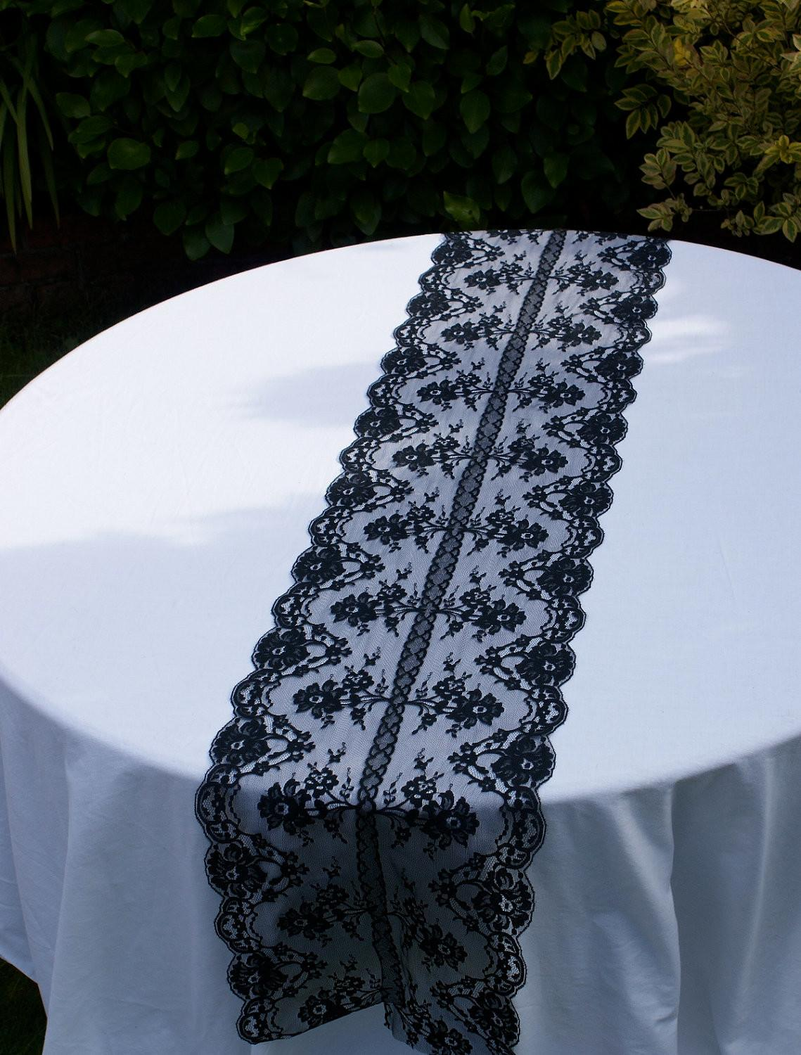 Black Lace Table Runner Your Special Day