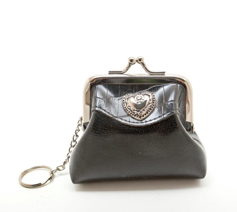 Black Leather Coin Purse Heart Decoration