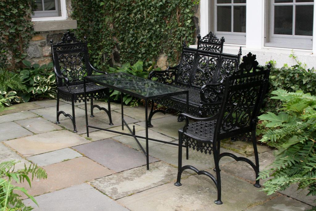 Black Metal Outdoor Table Chairs Seating
