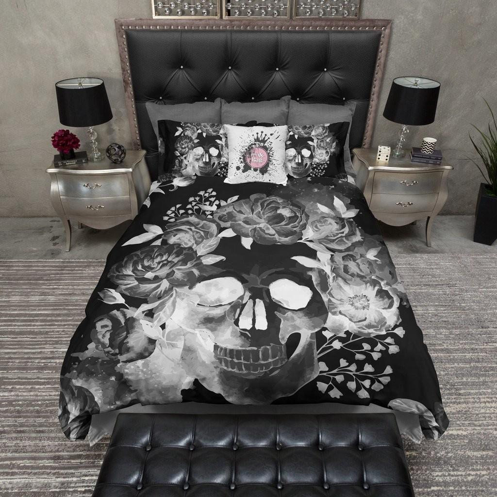Black Night Watercolor Skull Bedding Ink Rags