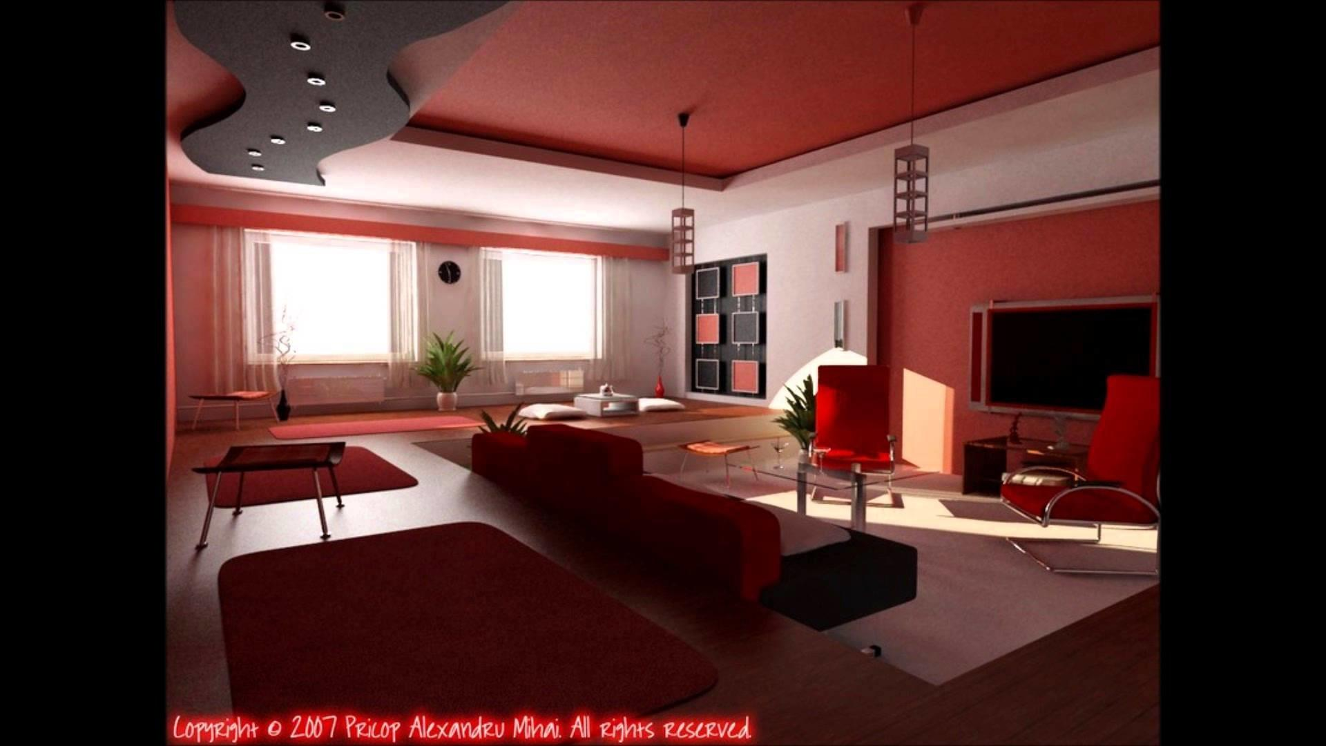 Black Red Living Room Design Ideas