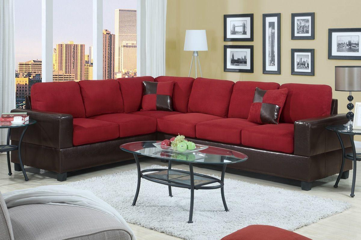 Black Red Sectional Sofa