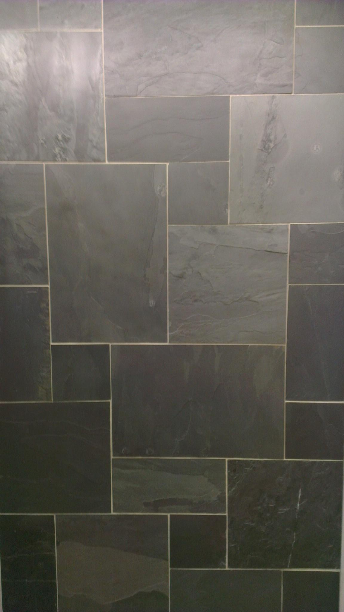Black Riven Slate Floor Tile Modular Mix