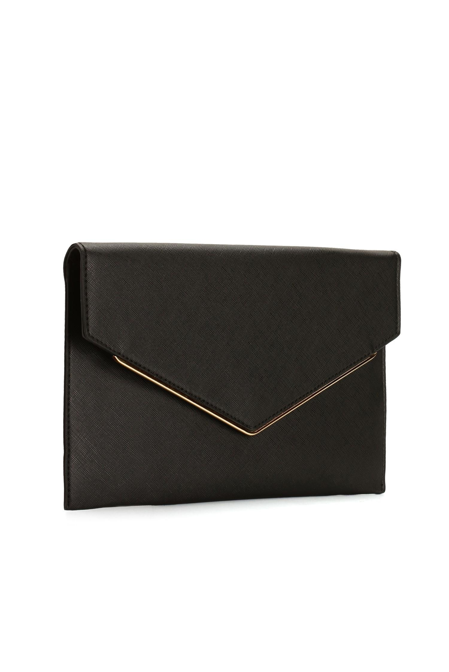 Black Sleek Envelope Clutch