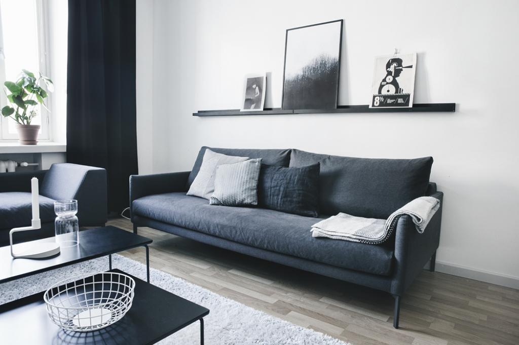 Black Sofa White Apartment Livng Room