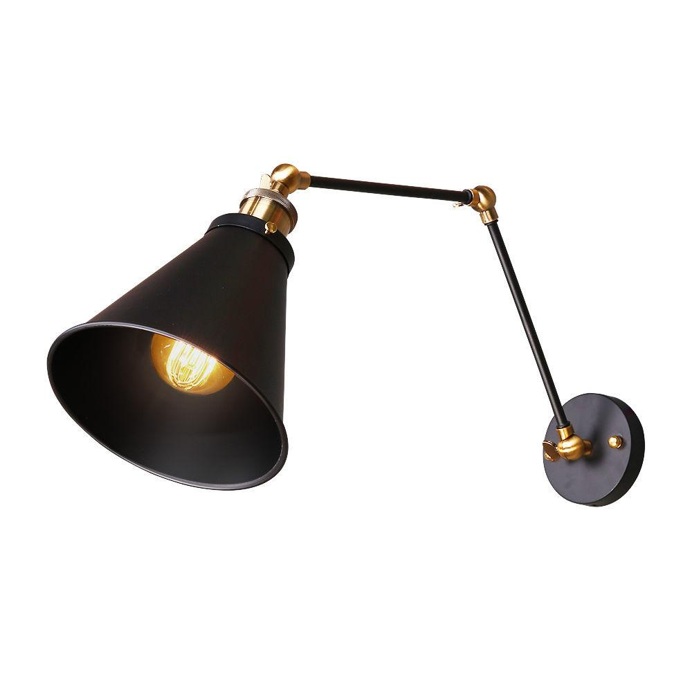Black Vintage Industrial Swing Arm Wall Lamp Diy