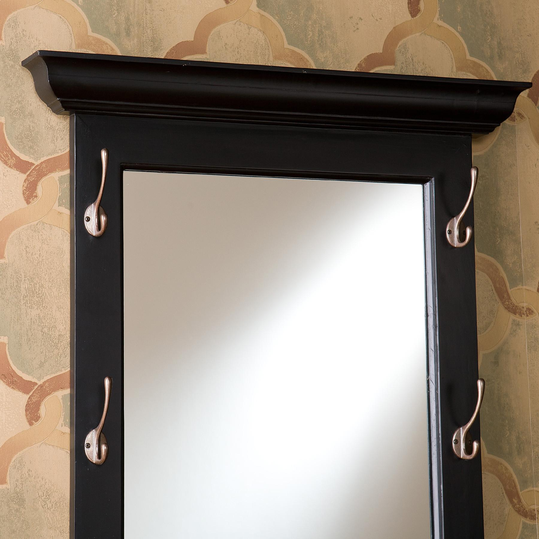 Black Wall Mirror Entryway Foyer Hooks Wood He2595