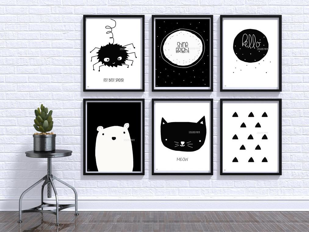 Black White Baby Print Nursery Wall Art Room Decor