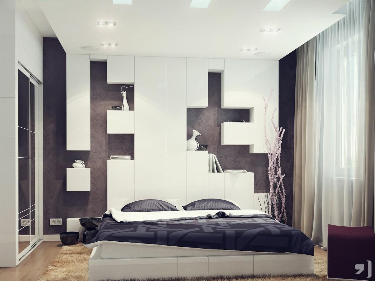 Black White Bedroom Storage Headboard Interior Design Ideas