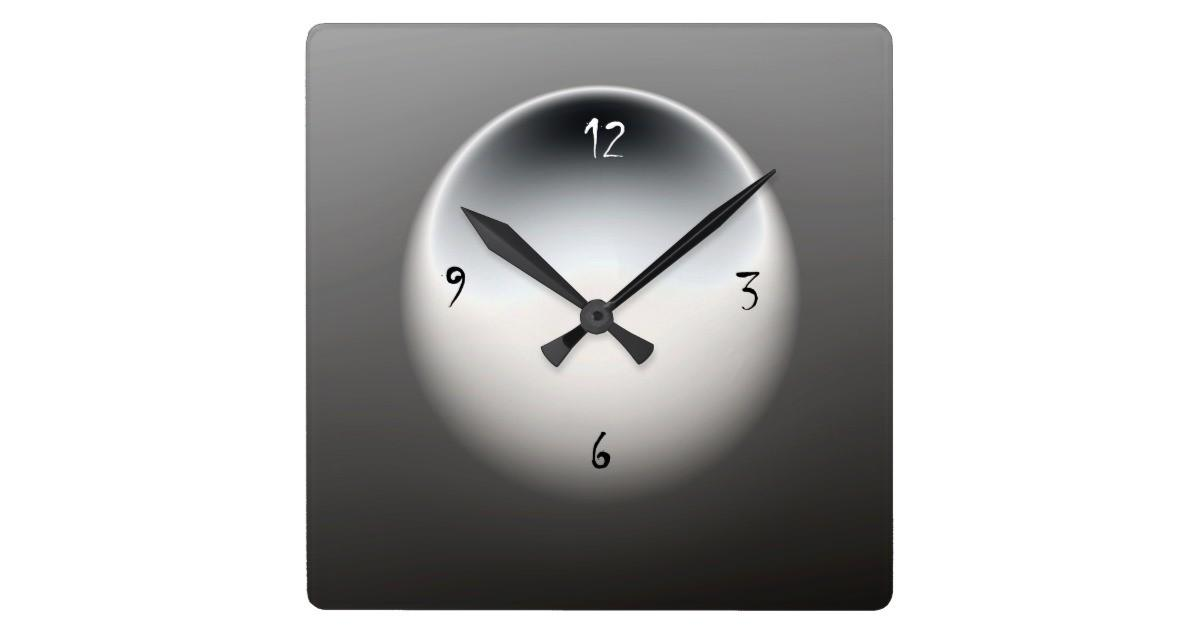 Black White Grey Minimalist Wall Clock Zazzle