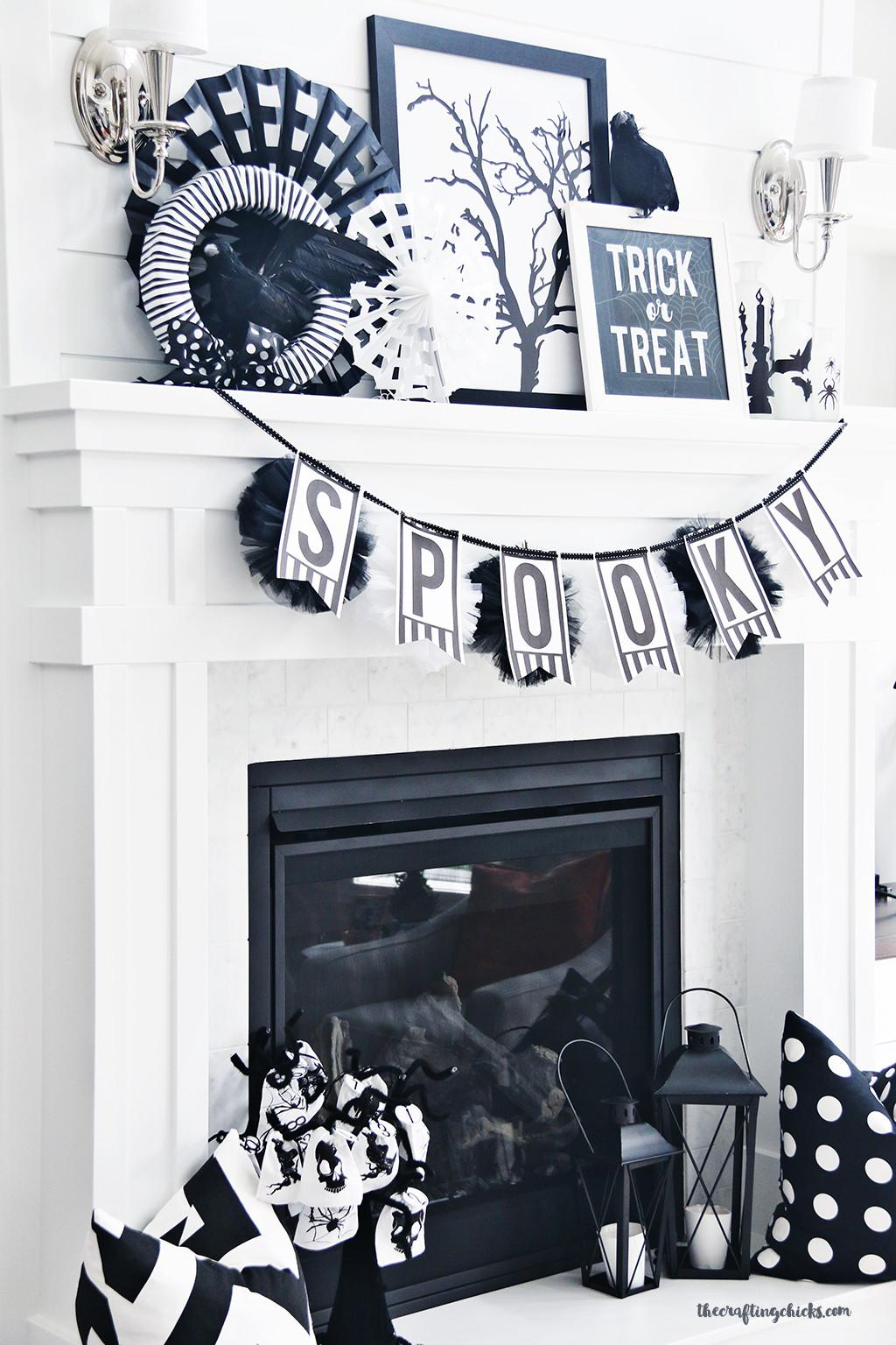 Black White Halloween Mantle Decor Crafting Chicks