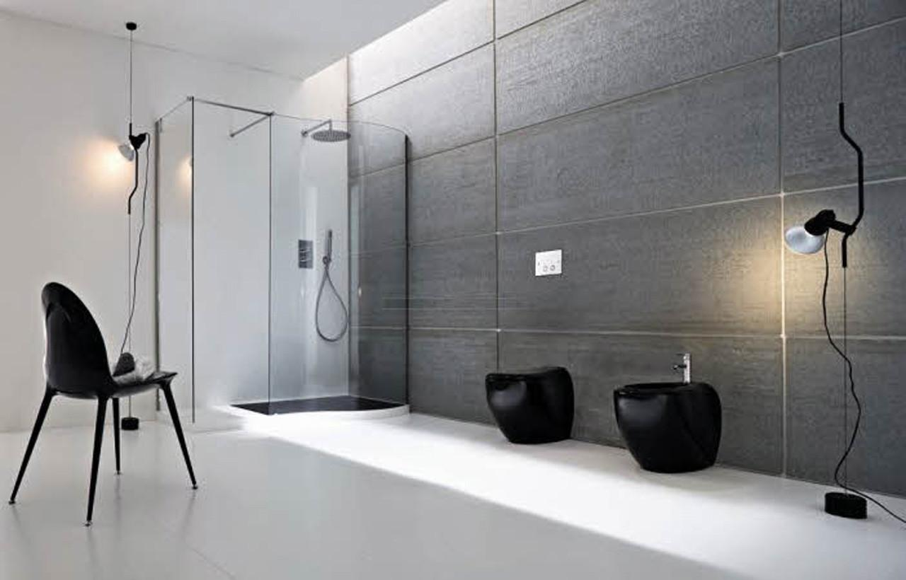 Black White Minimalist Bathroom Design Decorating Modern