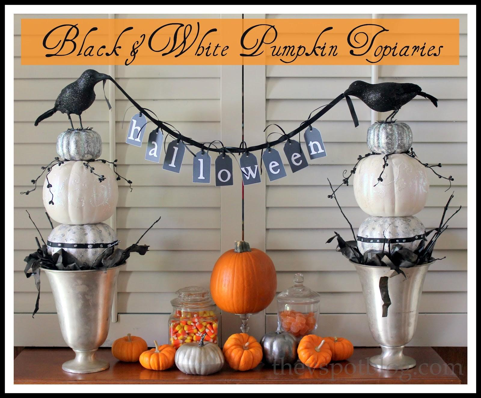 Black White Pumpkin Topiaries Another Diy Halloween