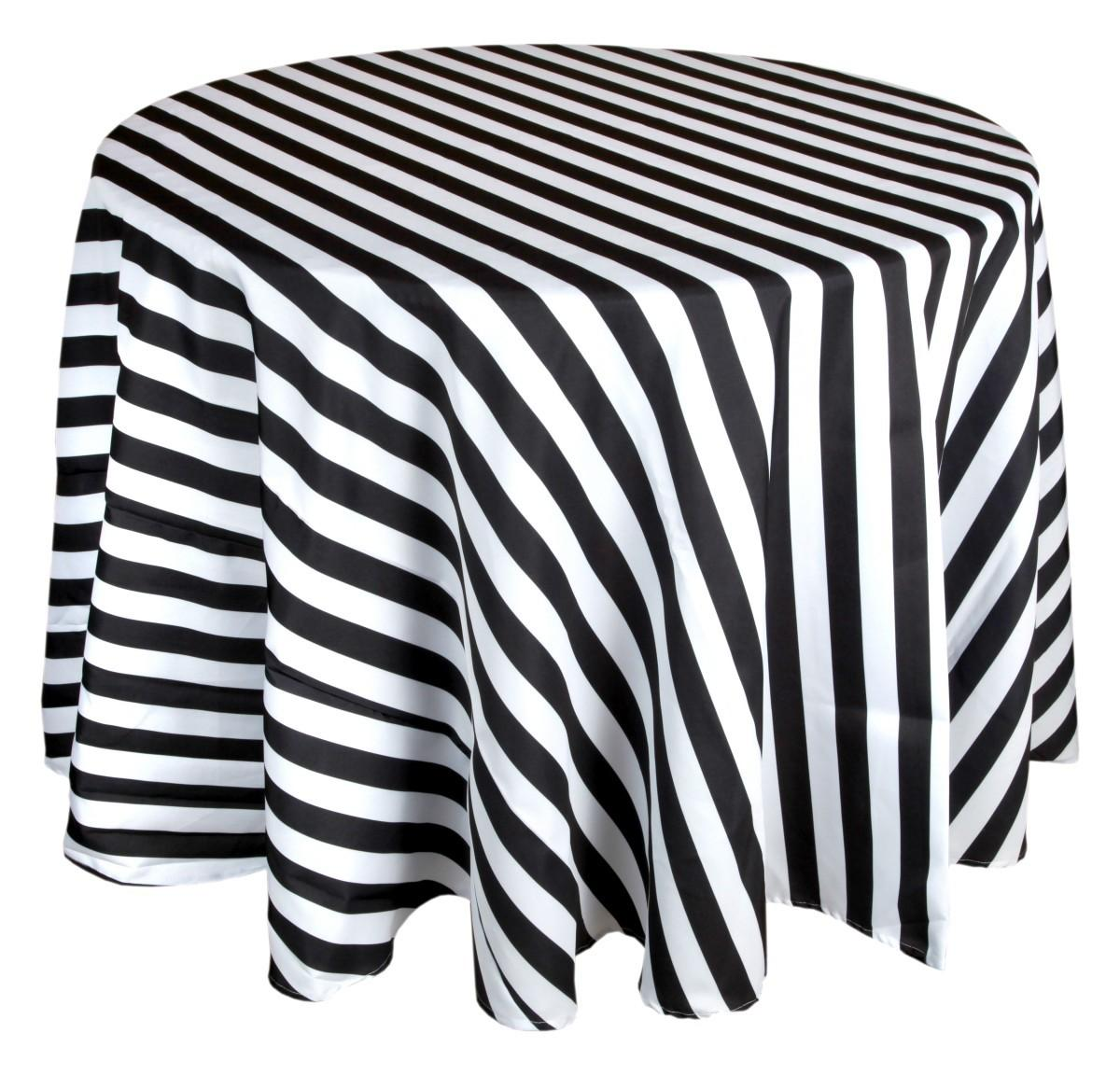 Black White Striped Tablecloth 132 Inch Round